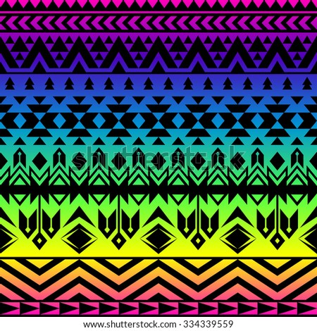 rainbow color tribal Navajo seamless pattern. aztec grunge abstract geometric art print. ethnic hipster backdrop. Wallpaper, cloth design, fabric, paper, wrapping, textile, postcards.   - stock vector