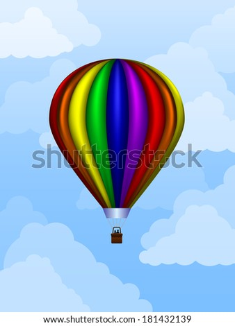 Rainbow colored balloon floating in the sky during daytime - stock vector