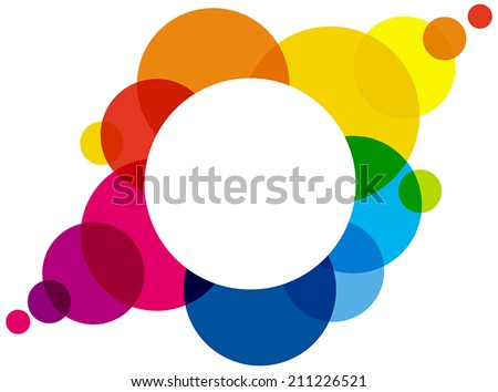 Rainbow Colored Bubbles - Rainbow colored bubbles are forming a colorful space or cloud for a background or to write something in the white circle. Illustration with transparencies. - stock vector