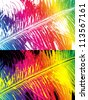 Rainbow colored feather - stock vector