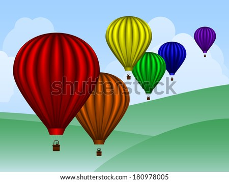 Rainbow colored hot air balloons over a simple landscape - stock vector