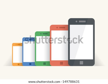 Rainbow colored mobile phones - stock vector