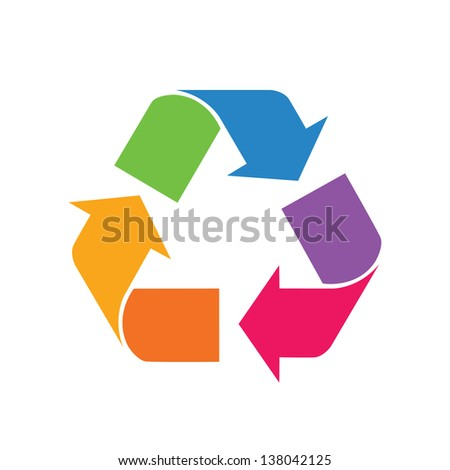 Rainbow colored recycle sign - stock vector