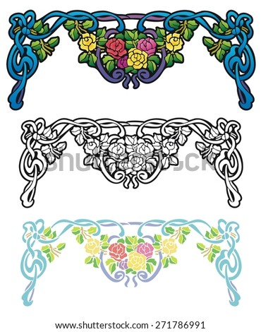 rainbow colored roses swag, top frame decoration - stock vector