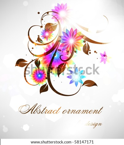 rainbow-colored swirly and flowers - stock vector