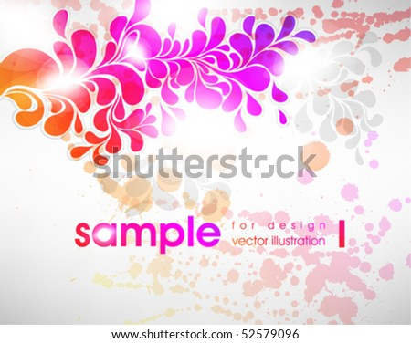 rainbow-colored swirly background with splats and retro floral elements - stock vector