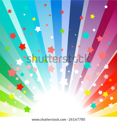 Rainbow colored vector starburst