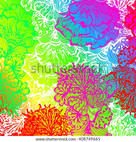 Rainbow colored zentangle style ornament. Vector pattern illustration with white contour.