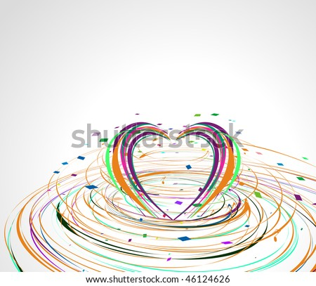 rainbow colorful lines crossing each other on heart shape ,vector illustration - stock vector