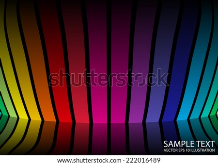 Rainbow colorful vector techno reflected  template - Vector abstract design template background illustration - stock vector