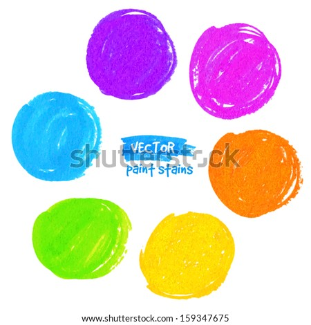 Rainbow colors marker stains vector set