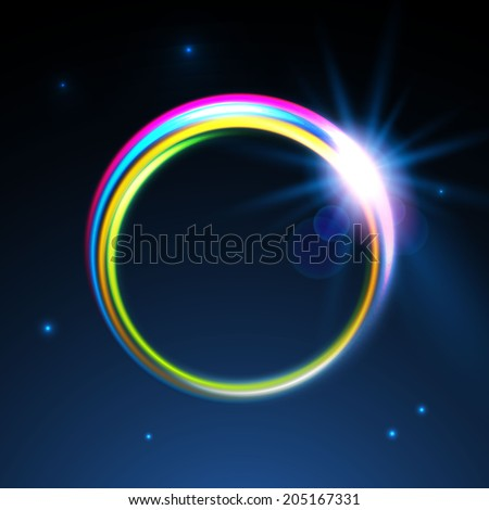 Rainbow colors shining neon lights vector circle.