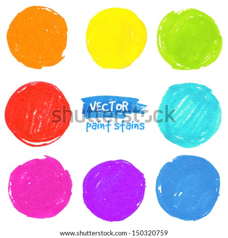 Rainbow colors vector paint stains - stock vector