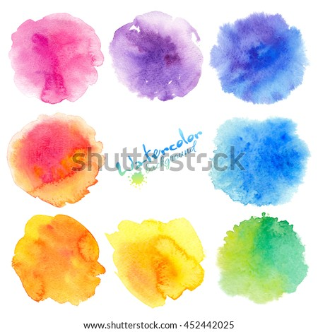 Rainbow colors watercolor paint stains vector backgrounds set - stock vector