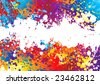 Rainbow coloured abstract background with a white band - stock vector