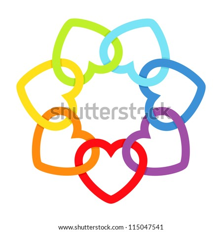 Rainbow connected hearts. Vector illustration. - stock vector