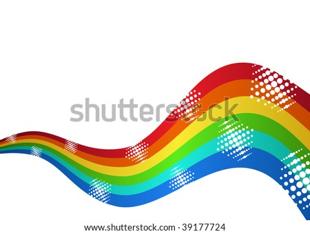 Rainbow curved waves isolated over white background