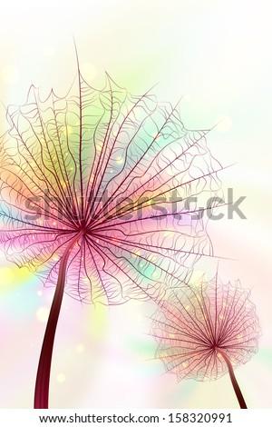 Rainbow Dandelions - stock vector