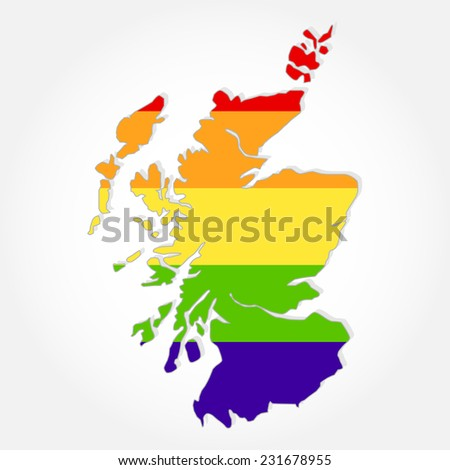Rainbow flag in contour of Scotland. Lgbt flag  in contour of Scotland with light grey background - stock vector