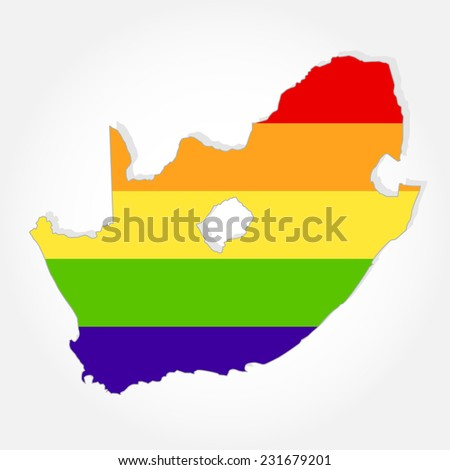 Rainbow flag in contour of South Africa. Lgbt flag  in contour of South Africa with light grey background - stock vector