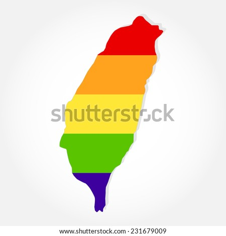 Rainbow flag in contour of Taiwan. Lgbt flag  in contour of Taiwan with light grey background - stock vector