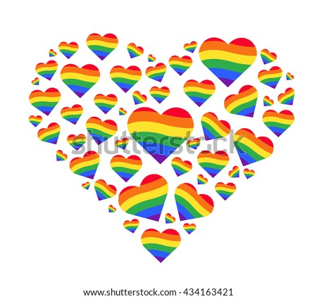 Illustration of a gay symbol with rainbow colors on white background Gay pride flag made of hearts b