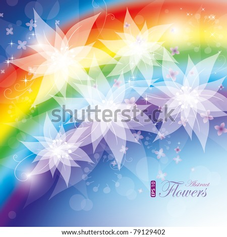 Rainbow flowers, vector illustration, contain gradient mesh, eps-10 - stock vector