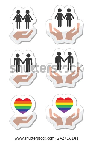 Rainbow, gay and lesbian symbols in heart with hands - stock vector