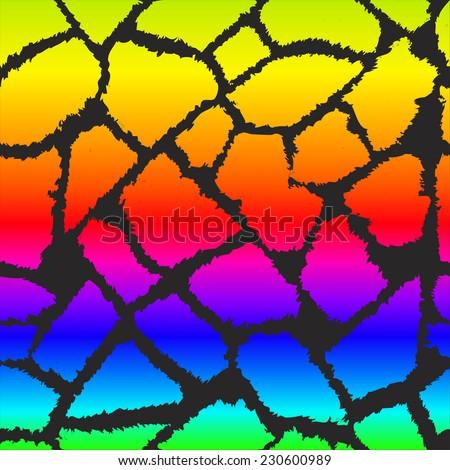Rainbow giraffe skin vector pattern. - stock vector