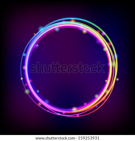 Rainbow glowing crcle frame with sparkles. Vector eps 10 - stock vector
