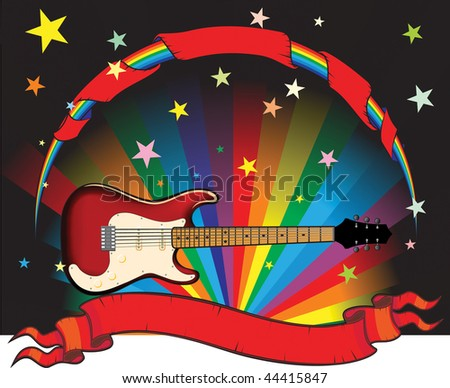 rainbow guitar with stars and banner