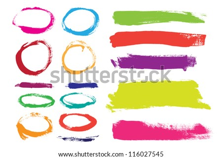 Rainbow hand painted vector abstract brush strokes  and circles collection