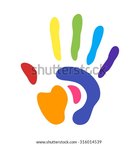 rainbow handprint. rainbow colors of a human hand and fingers - stock vector
