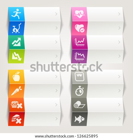 Rainbow - Health and Fitness icons / Navigation template - stock vector