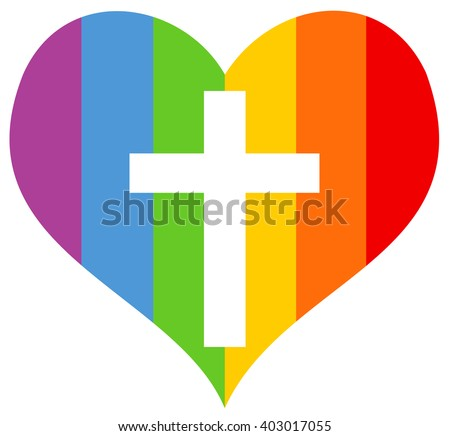 Rainbow heart as symbol of homosexuals and homosexuality with cross of christian catholic church  - stock vector