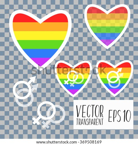 Rainbow heart icon, gay icon and lesbian icon.Couple love icon. Lesbian and Gay lovers signs. Romantic homosexual relationships. Speech bubble with heart symbol. Circle flat buttons with icon. - stock vector