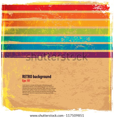 Rainbow horizontal lines with vintage background - stock vector