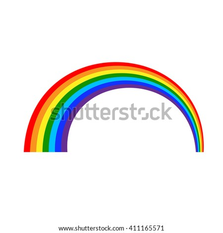 Rainbow icon. Shape arch cartoon, isolated on white background. Colorful light and bright design element for decorative. Symbol rain, sky, clear, nature. Flat simple graphic style. Vector illustration - stock vector