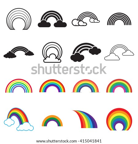 Rainbow icons. Black and colored rainbow icons. 16 different rainbow symbols isolated on a white background. Vector illustration - stock vector