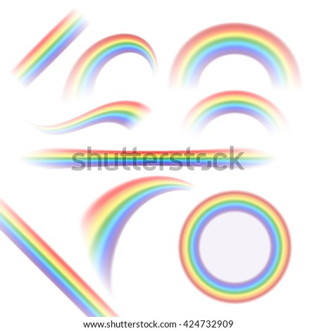 Rainbow icons set. Different shapes realistic, isolated on white background. Colorful light and bright design elements collection for decorative. Symbol of rain, sky, clear. Vector illustration. - stock vector