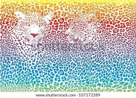 rainbow illustration pattern background leopard skins and two heads - stock vector