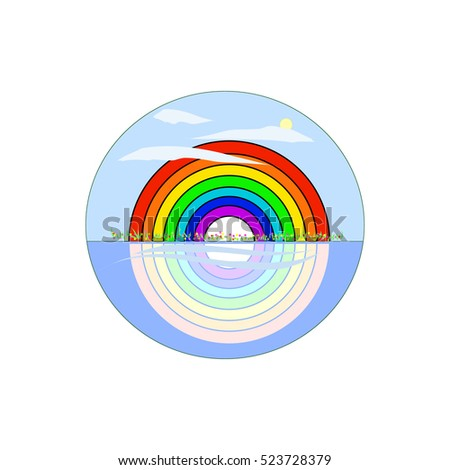 Rainbow in a field of wildflowers. Rainbow reflection in the water. Logo, vector illustration