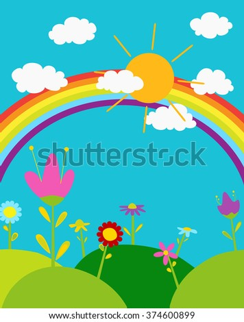 rainbow in the sky,sun and white clouds, cute cartoon flowers. vector illustration