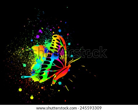 Rainbow ink butterfly on black background. Vector - stock vector