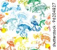 Rainbow Jellyfish Pattern - stock photo
