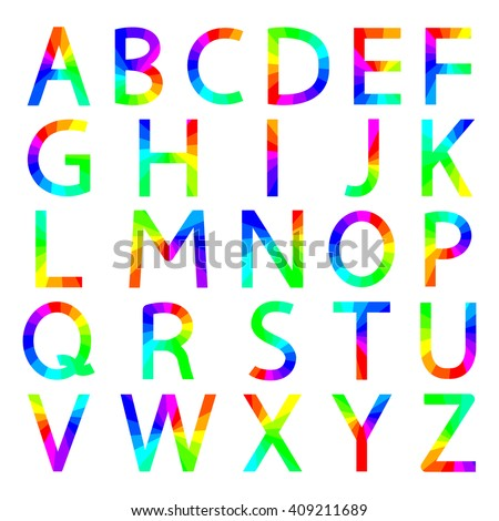 Rainbow letters with square corners of the English alphabet, vector illustration.