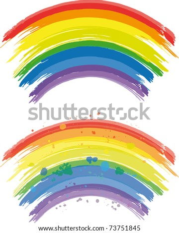 Rainbow Lines of a paintbrush in a rainbow colors - stock vector