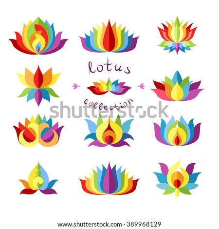 Rainbow Lotuses Collection. Colorful lotus icon different variations. Trendy lotus isolated design element. Lotus symbol. Lotus icon. Flat vector illustration. - stock vector