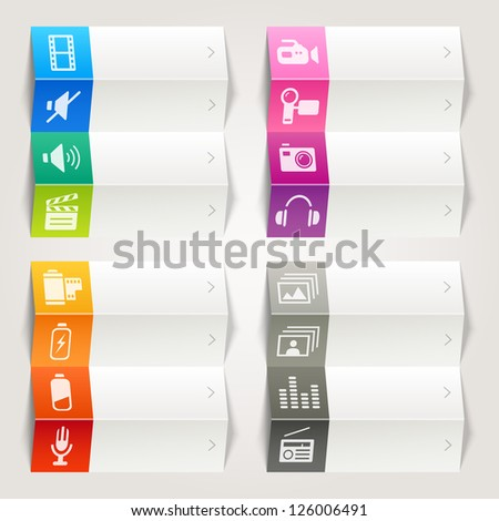 Rainbow - Media icons / Navigation template - stock vector