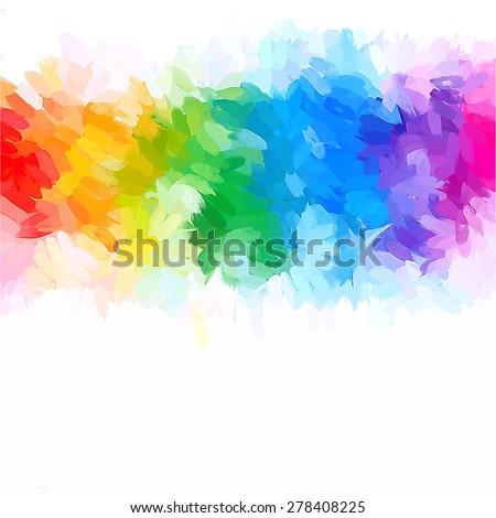 Rainbow mix brush strokes background. Vector version - stock vector
